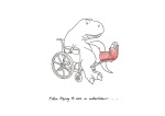 T-Rex trying to use a wheelchair
