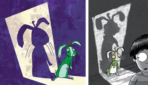 LEFT: a colour test version of the rough sketch in the previous image;  RIGHT: final version from the cover of the book